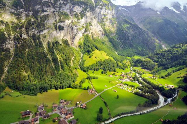 View of Swiss Alps seen on summer teen adventure travel tour