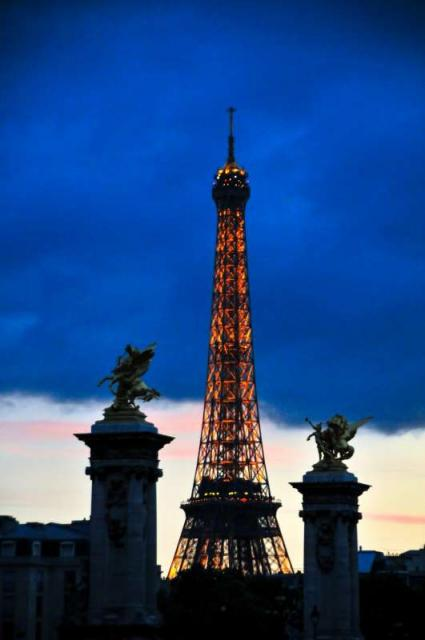 Eiffel Tower at twilight seen on summer teen travel program