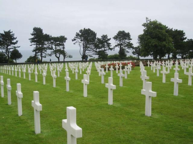American Cemetery in Normandy visited by teenage travelers during summer French language immersion program
