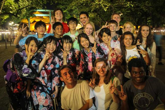 American teenagers meet Japanese teenagers during summer youth travel program in Japan