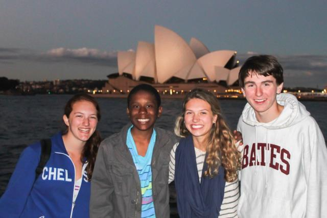 Teen travelers catch the sunset at the Sydney Opera House on their summer program to Australia.