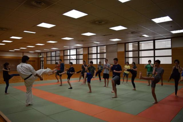 Teenage travelers practice traditional karate during summer youth travel program in Japan
