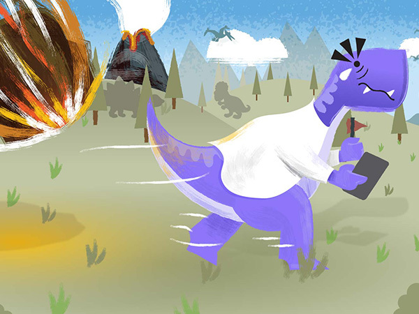A dinosaur with a doctor's coat on runs from an asteroid