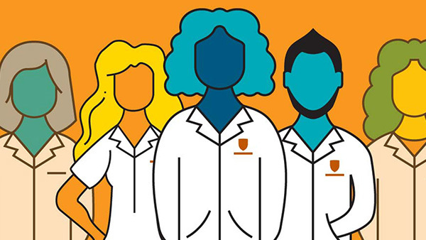 Graphic of medical residents in white coats