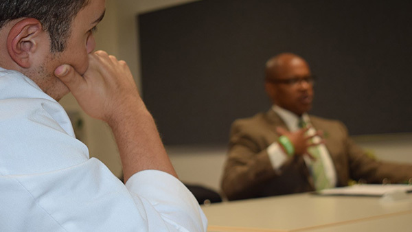 "Student participates in Dell Med's ""Discussing Serious News"" training."