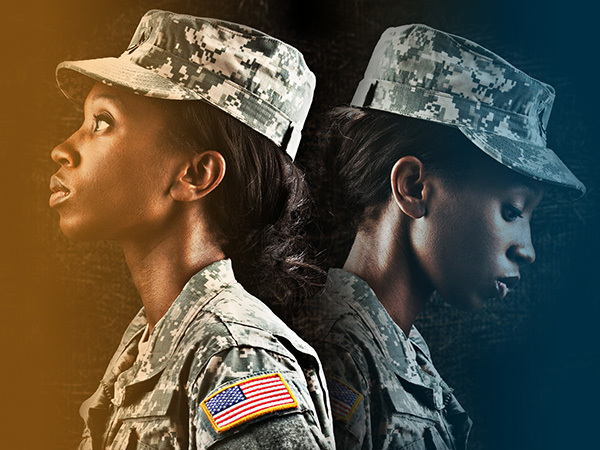 Two images of the same female soldier, one in which she's looking up and another in which she's looking down.