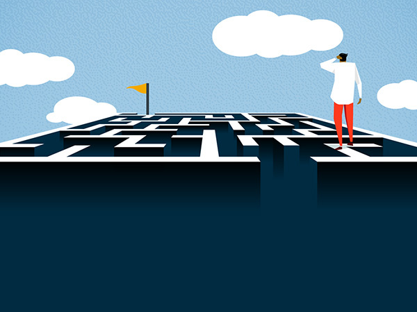 A person looking over a maze to the goal at the end. Illustration.