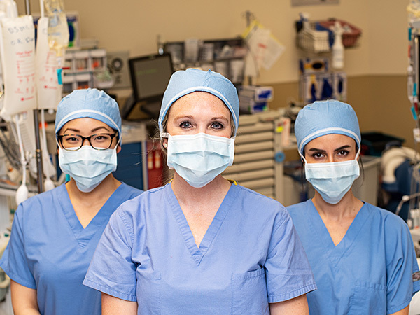 Chief surgical residents Brittany Bankhead-Kendall, Choyin Yvonne Chung and Pamela Daher.