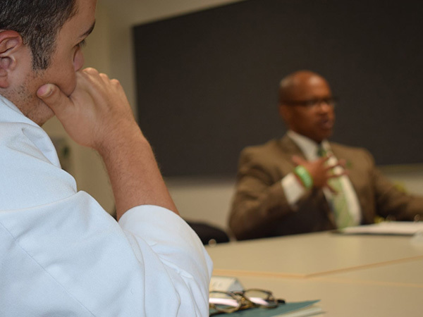 """Student participates in Dell Med's """"Discussing Serious News"""" training."""