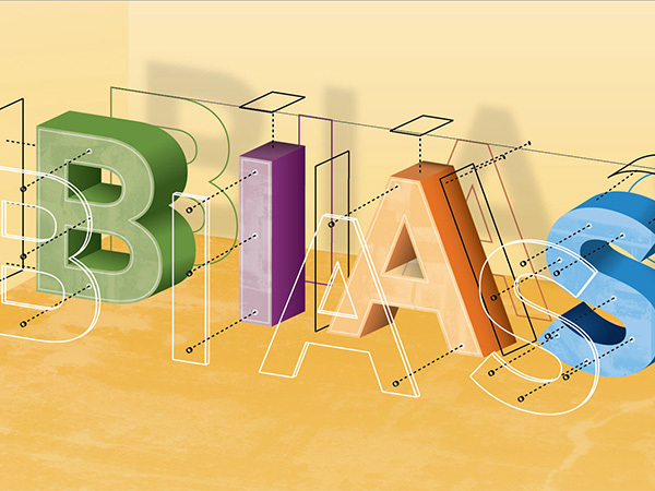The word bias in block letters of different colors.