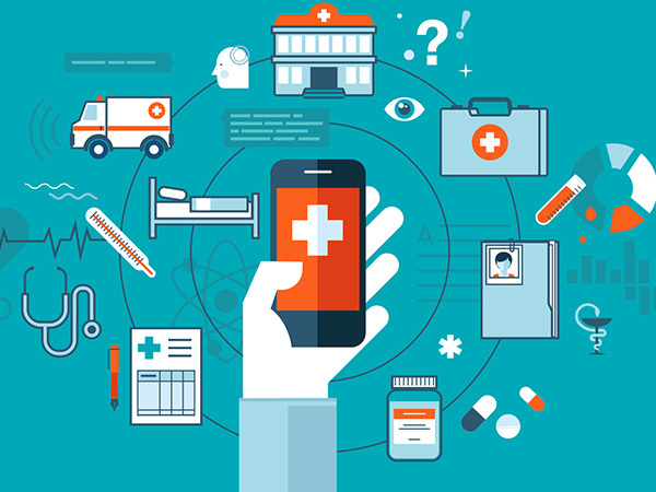 Innovative medical devices swirl around a phone
