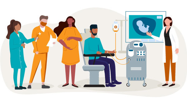 Illustration of health care workers, a pregnant person and a man receiving chemotherapy.