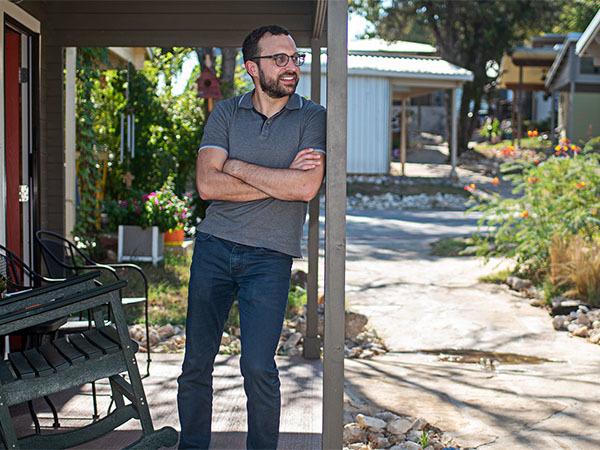 Nick Christian outside his tiny home.