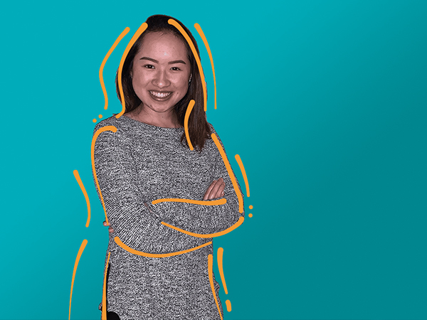 A photo of Amie Nguyen with orange lines around it on a teal background.