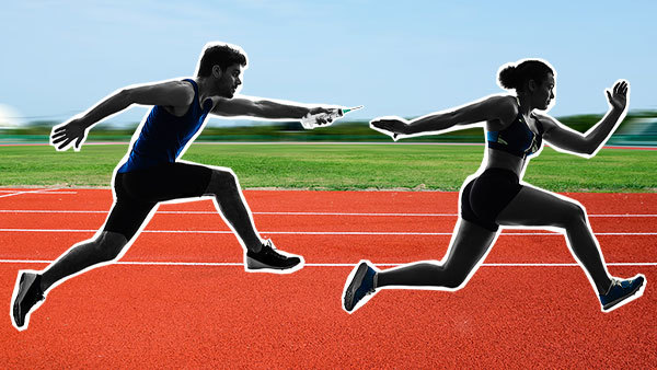 Illustration of a runner passing a baton styled as a syringe to another runner.
