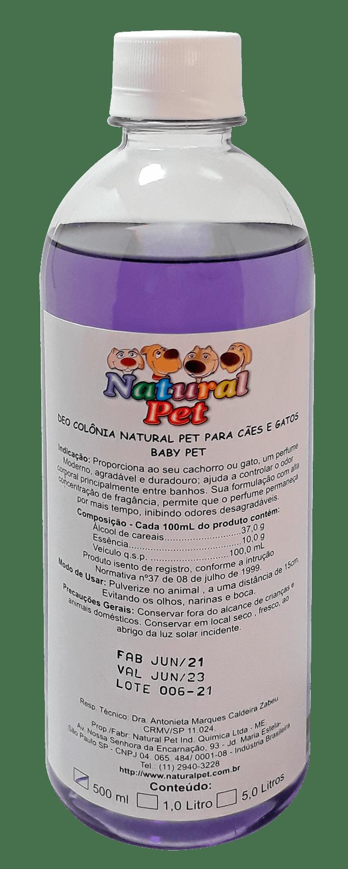 DEO COLÔNIA BABY PET NATURAL PET 500 ML USO VETERINÁRIO