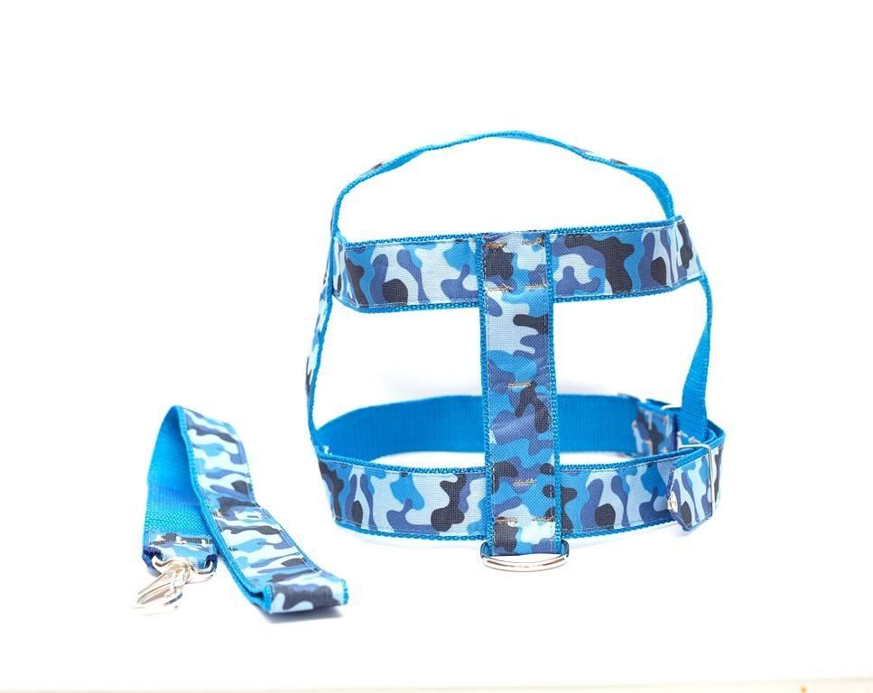 Kit Guia Com Peitoral 25Mm Azul Tamanho 6 (53 Cm A 70 Cm)