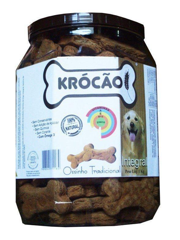 Krocão Biscoito Integral Ossinho Tradicional (11 Potes de  1Kg)