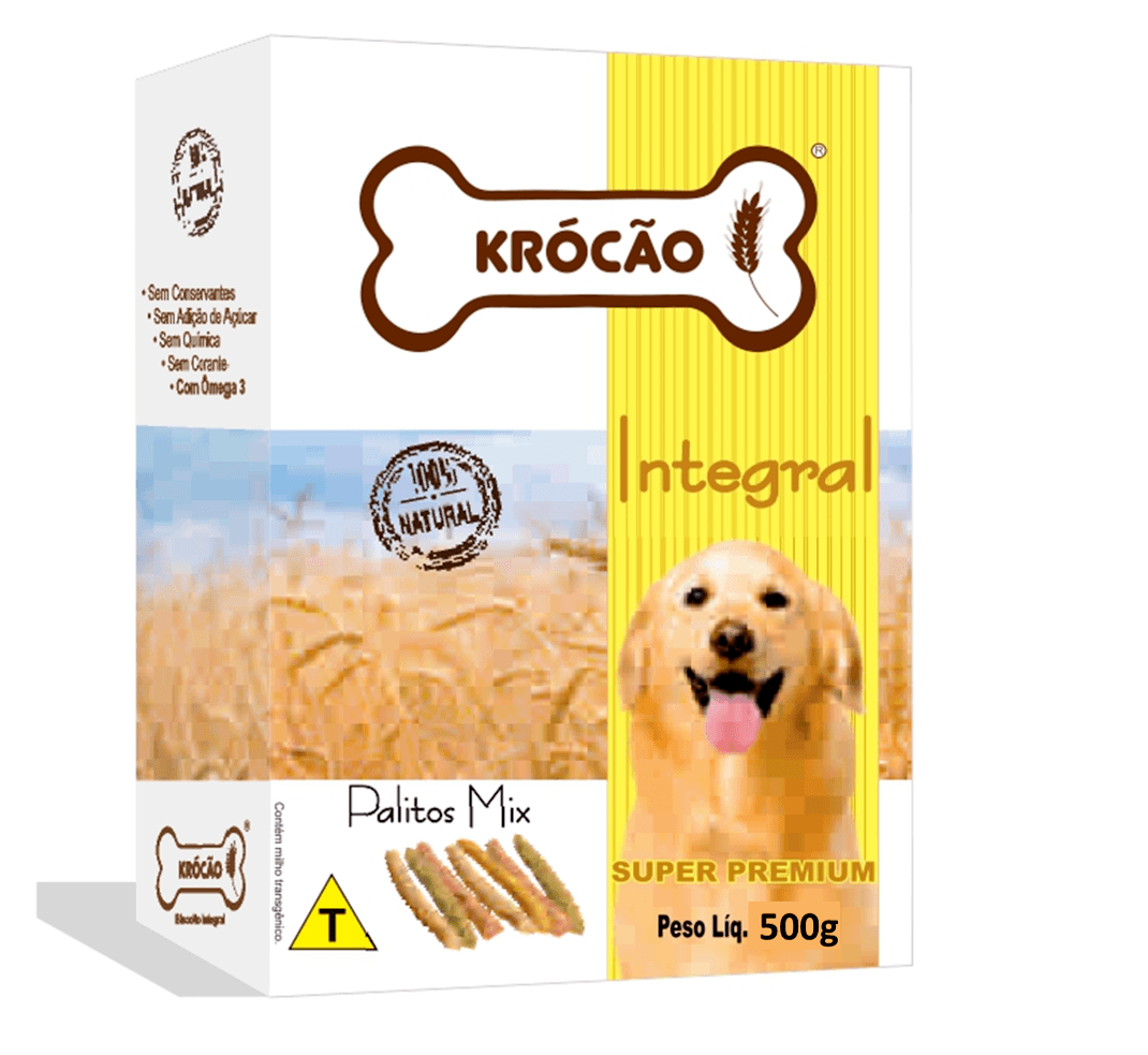 Krocão Biscoito Integral Palito Mix (16 caixas de 500Gr)