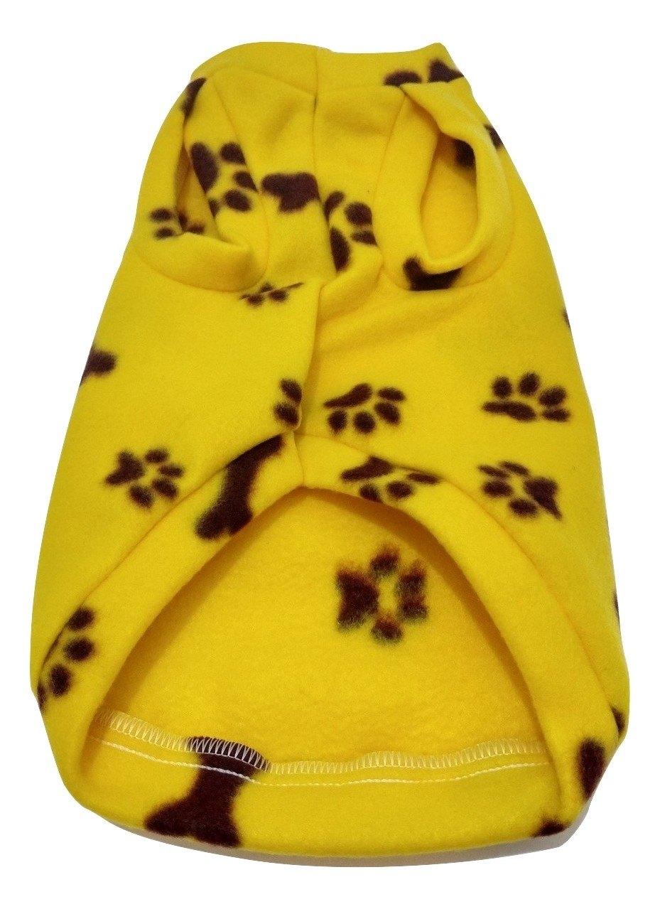 Roupa Capa Soft Para Cachorro Amarelo Com Patinhas Tamanho M