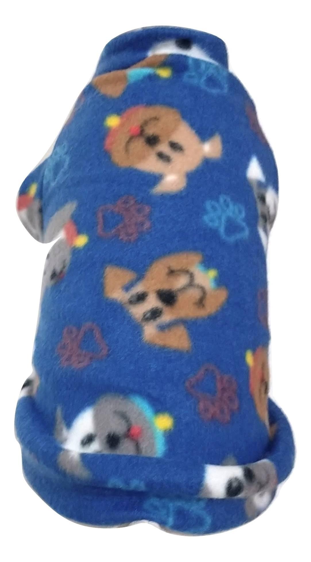 Roupa Capa Soft Para Cachorro Azul Com Estampada  Tamanho P