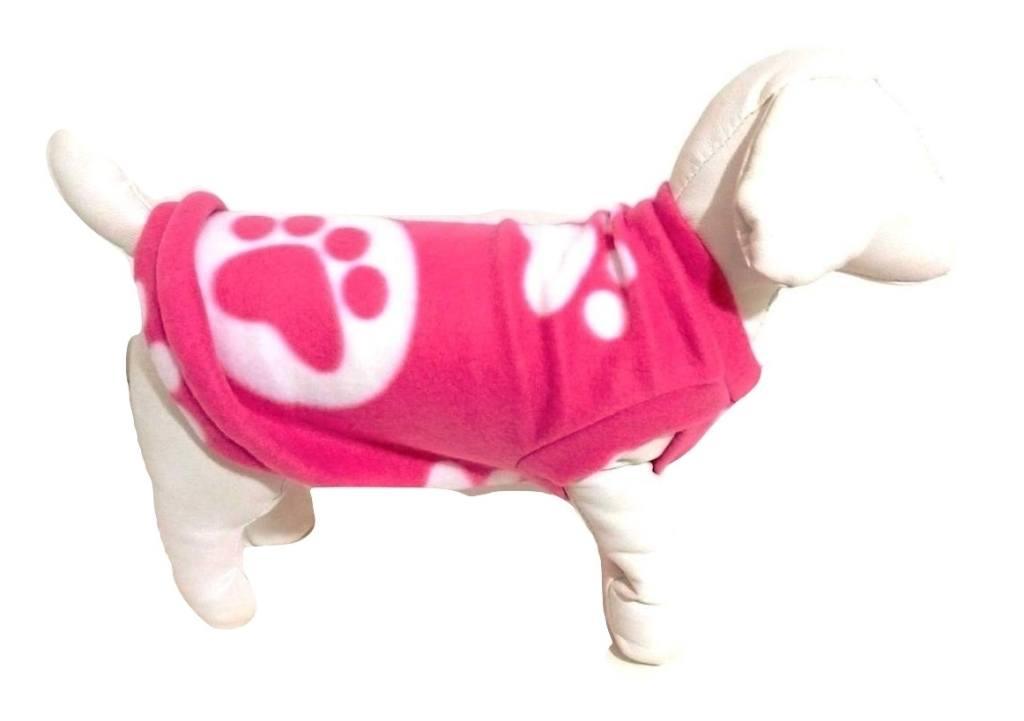 Roupa Capa Soft Para Cachorro Rosa Com Patinhas Tamanho M