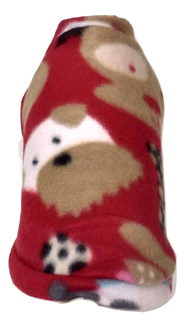 Roupa Soft Para Cachorro Vermelho Com Estampa Tamanho M