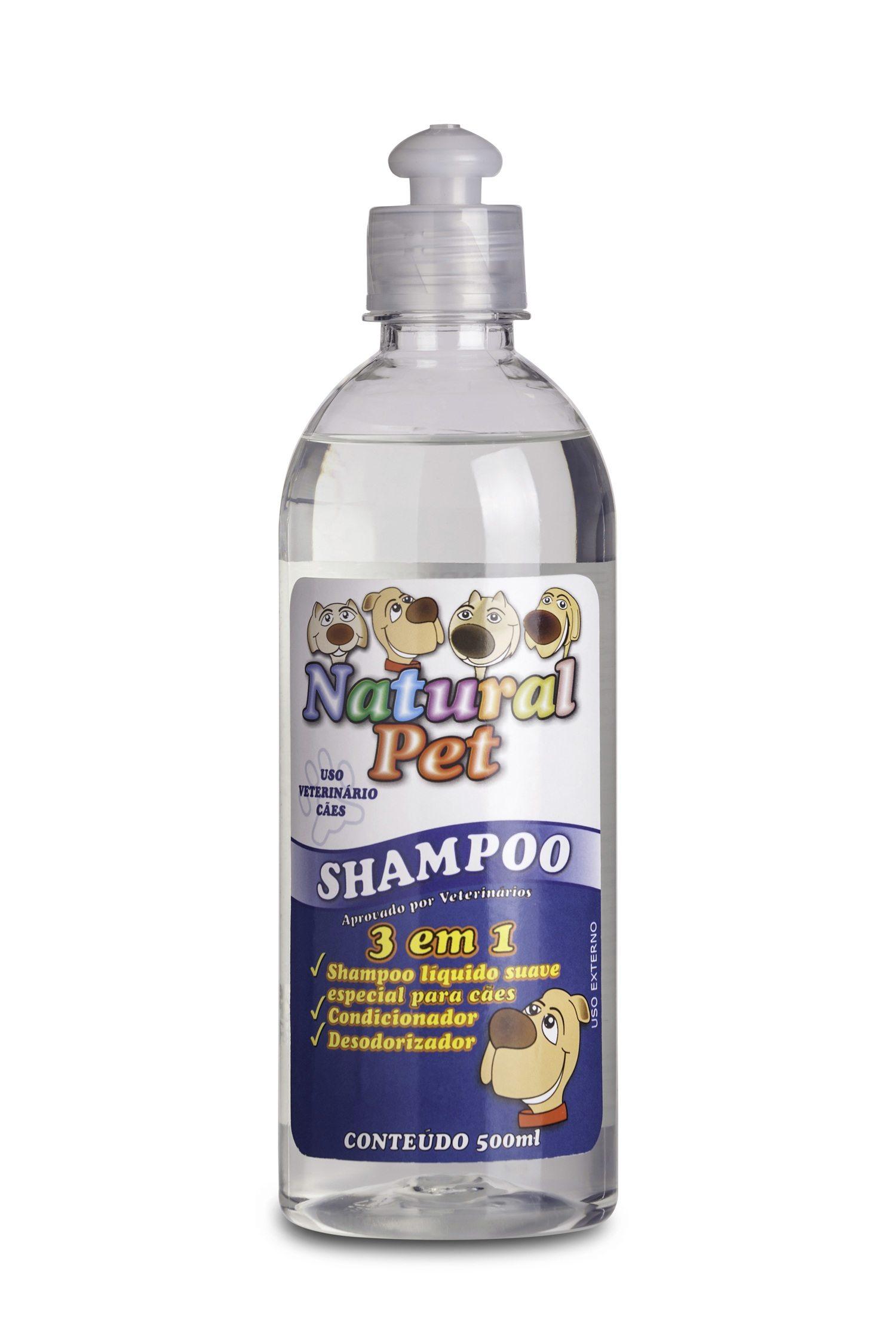 SHAMPOO 3 EM 1 CÃES NATURAL PET 500ML USO VETERINÁRIO