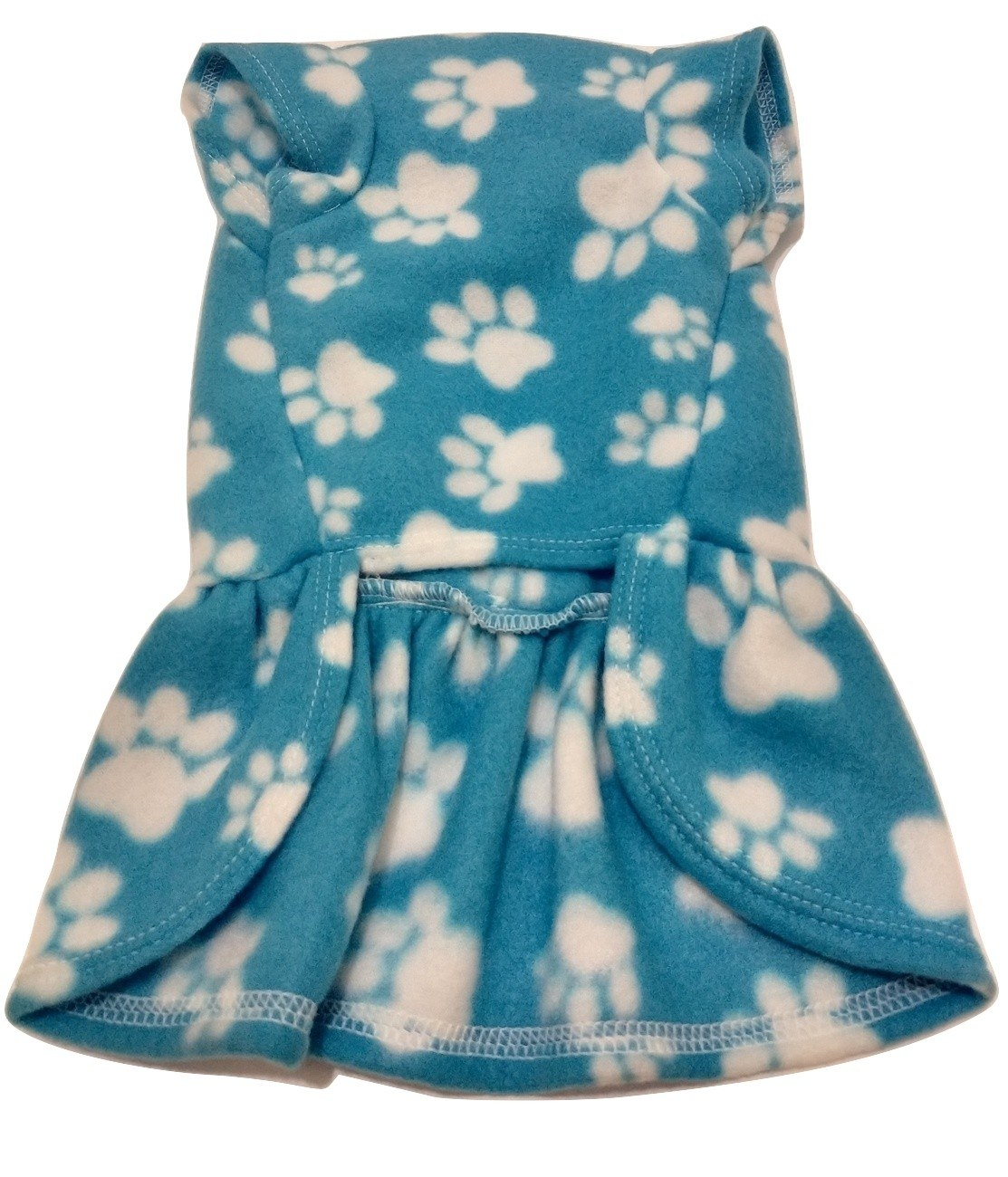 Vestido De Inverno Soft Cachorro Azul Estampa Patinhas Tam M