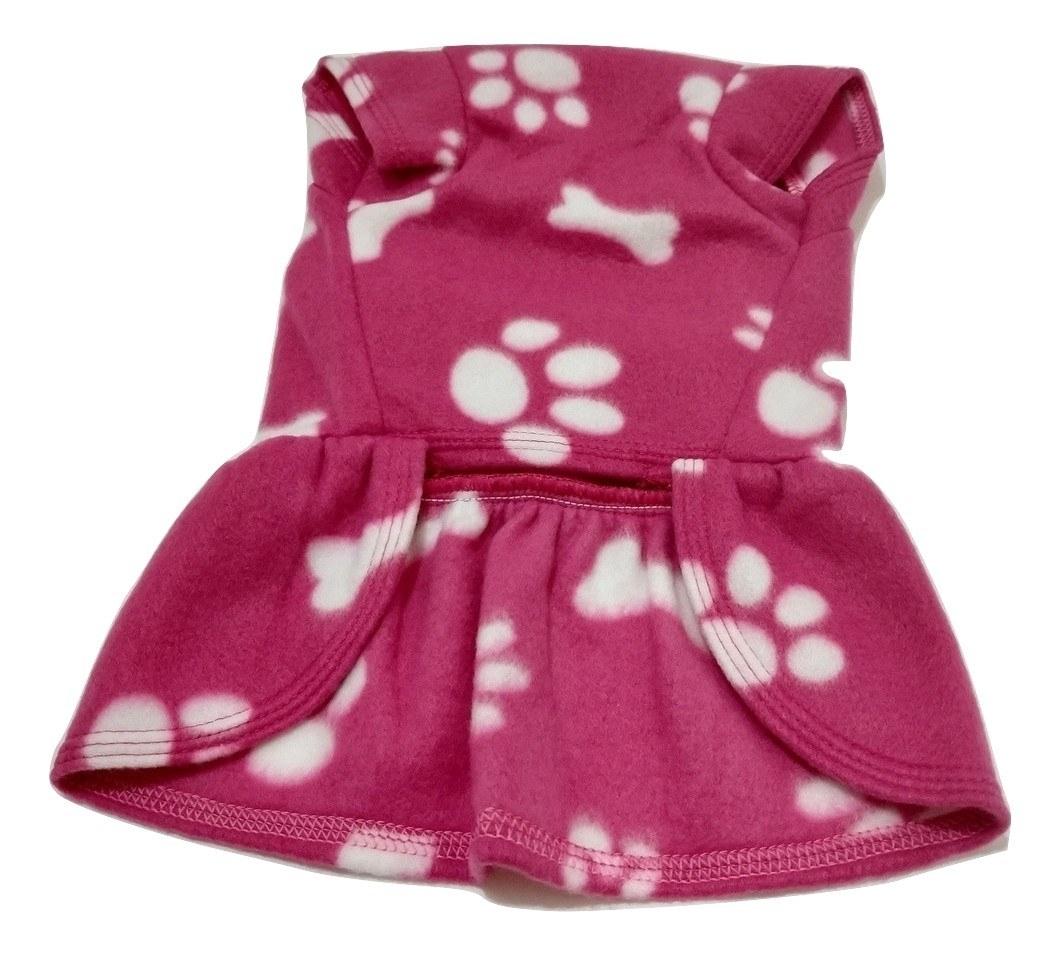 Vestido De Inverno Soft Cachorro Rosa Estampa Patinhas Tam M