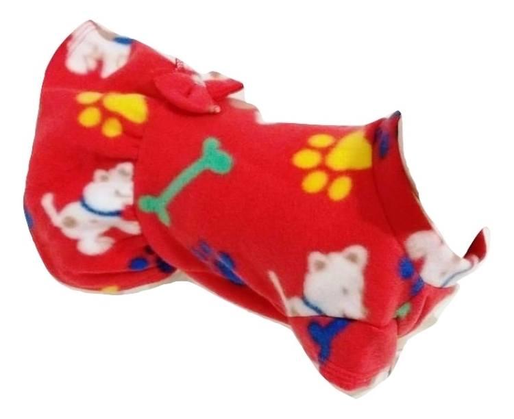 Vestido De Inverno Soft Cachorro Vermelho Estampado Tam M