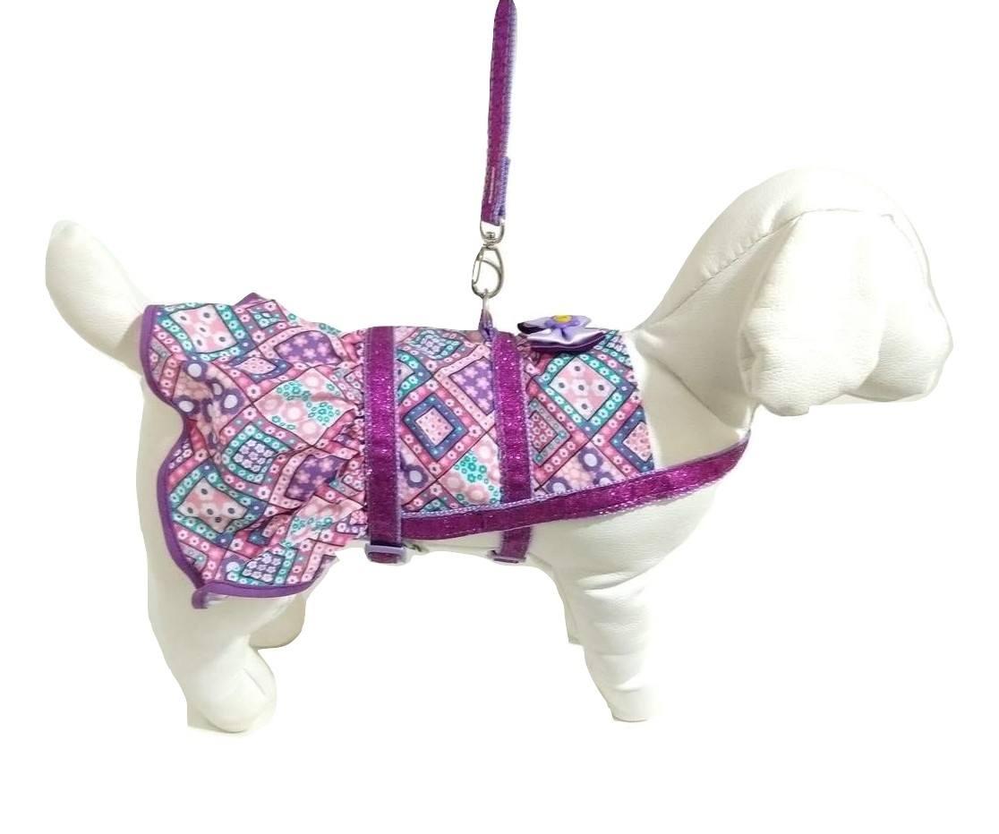 Vestido Peitoral Com Guia Para Cachorro Roxa Tamanho P
