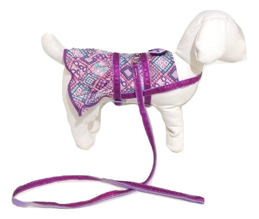 Vestido Peitoral Guia Cachorro Estampado Roxa Tamanho Pp
