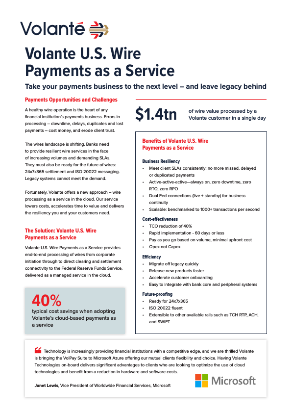 Volante U.S. Payments as a Service Data Sheet