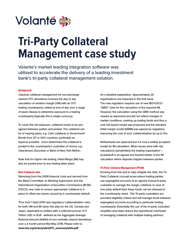 Tri-party Collateral Management