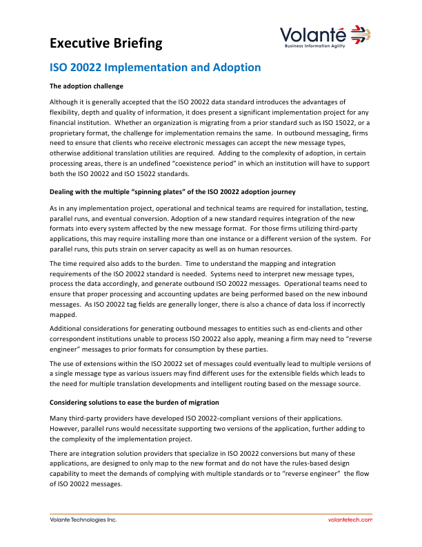 ISO 20022 Implementation and Adoption