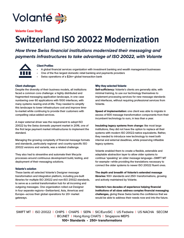 Switzerland ISO 20022 Modernization