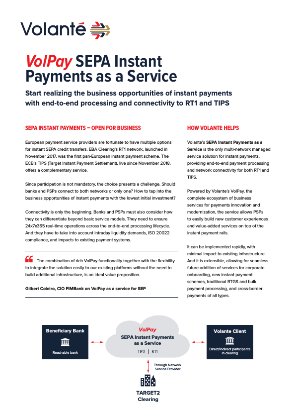 VolPay SEPA Instant Payments as a Service