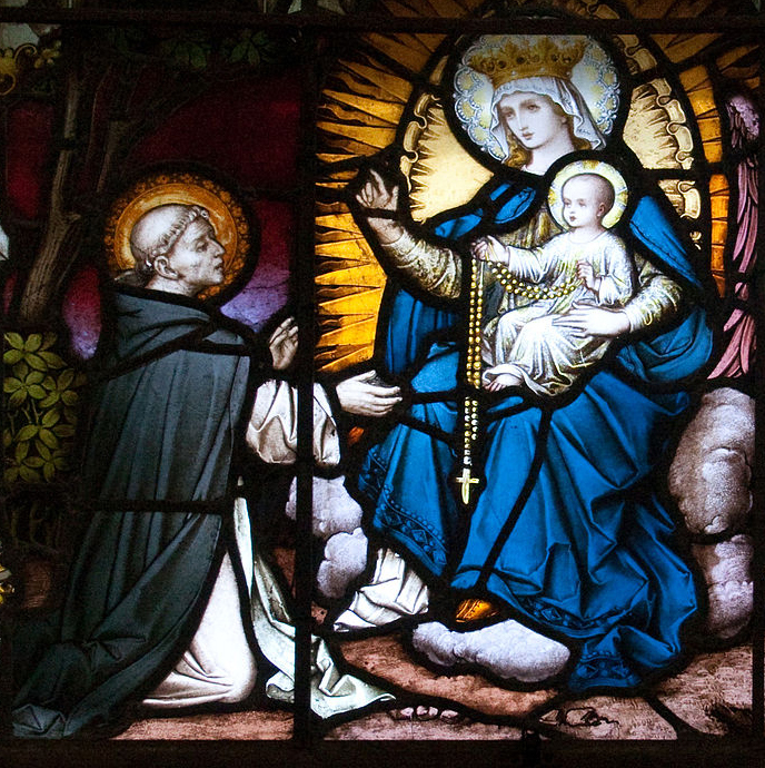 St Dominic receiving the Rosary from Our Lady