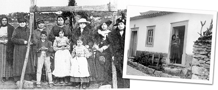 Three Shepherd Children with family and their house