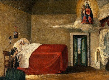 Mary visiting a nun on her deathbed
