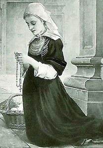 Young nun praying
