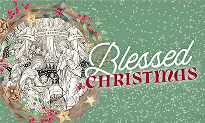 Blessed Christmas card with green