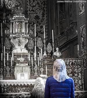 Praying before an altar