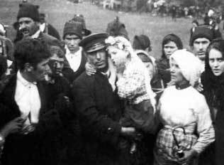 Jacinta being carried away from Cova da Iria after one of the apparitions