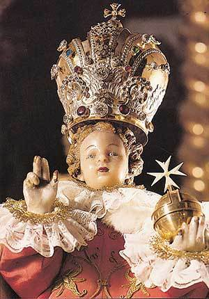 Close up of the Statue of the Infant of Prague