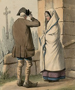Husband and wife in front of a church