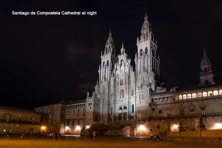 Santiago de Compostela Cathedral at night
