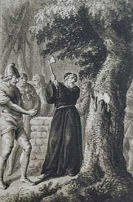 "St Boniface cutting down the ""sacred"" oak"