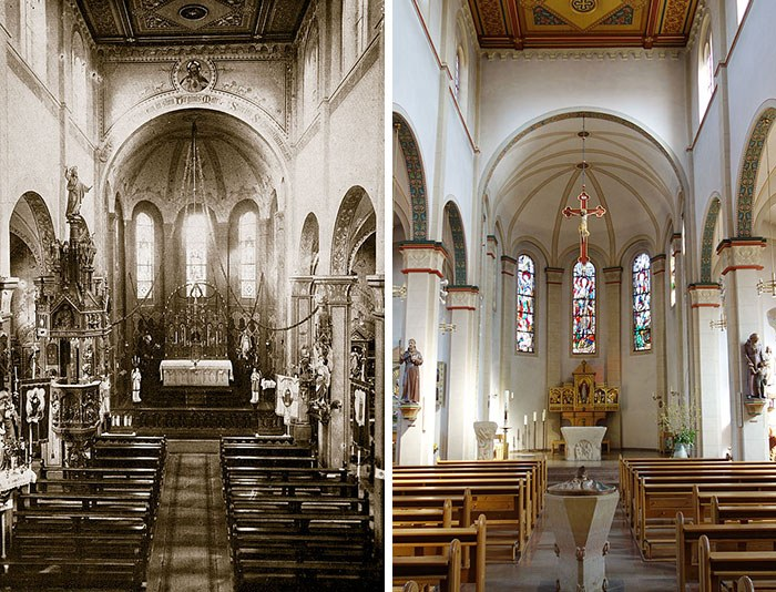 Interior of church in 1910 and in 2015